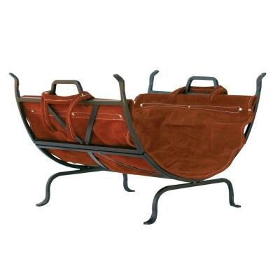 UniFlame Decorative Firewood Rack with Removable Leather Log Carrier