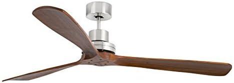FARO BARCELONA 33464 - LANTAU Ventilador de Techo sin luz, Cuerpo Acero, y Palas de Madera Natural Nogal Oscuro (Bombilla no incluida)