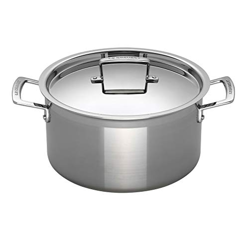 - Le Creuset Tri-Ply Stainless Steel 6-1/4-Quart Covered Casserole/Stockpot