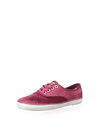 Ked's Women's Champion Embossed Velvet Sneaker, Red, Size 6.0