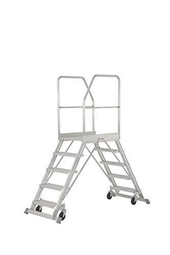 Hymer Podesttreppe fahrbar, beidseitig begehbar, Podestgröße 600x800 mm, 2x7 Stufen, Standhöhe 1700 mm, Gewicht 54 kg