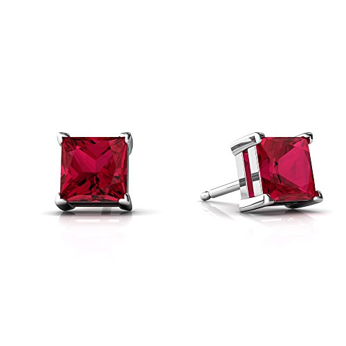 14kt White Gold Lab Ruby 5mm Square Princess Cut Stud Earrings ()
