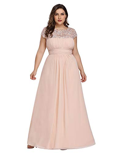 Ever-Pretty Womens A-Line Lace Plus Size Mother of The Groom Dresses for Women Blush US 18