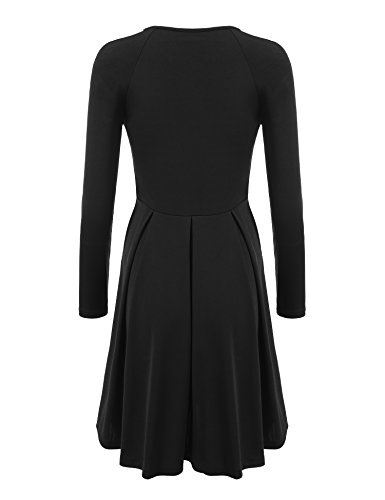 Fit Fall Cotton Black Dress line ELESOL Knee Long Pleated Flare A Length and Women Sleeve qnfgTtvA