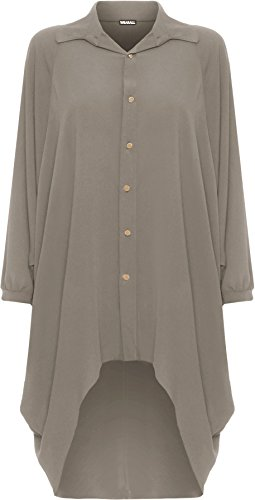 Chemise Femmes Dames Collier Longue Femmes Robe Il Batwing Moka 54 Robes 44 Tailles Manche Bouton Trempette Grande WearAll Salut Ourlet Taille 6aOxInn