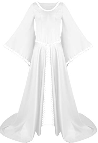 LETSQK Renaissance Medieval Dresses Irish Victorian Halloween Costume Cosplay Gown White L]()