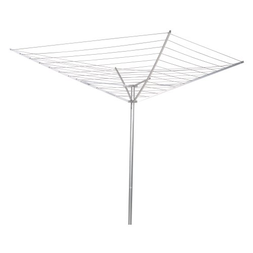 Household Essentials 17120-1 Rotary Outdoor Umbrella Drying Rack | Aluminum Arms and Steel Post | 12-Lines with 165 ft. Clothesline ()