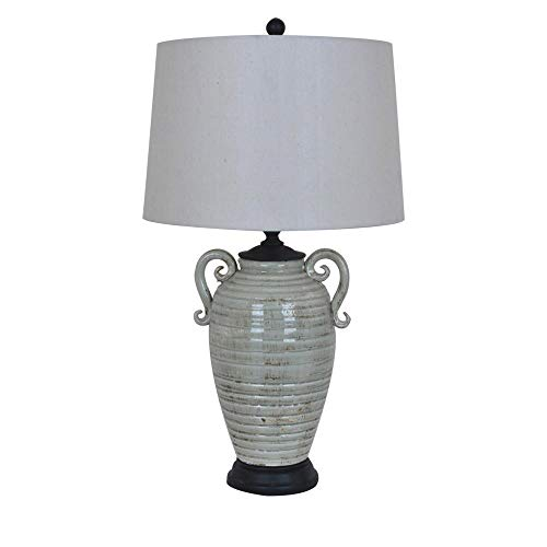 BLACK FOREST DECOR Ribbed Gray Pot Table Lamp (Forest Ribbed)