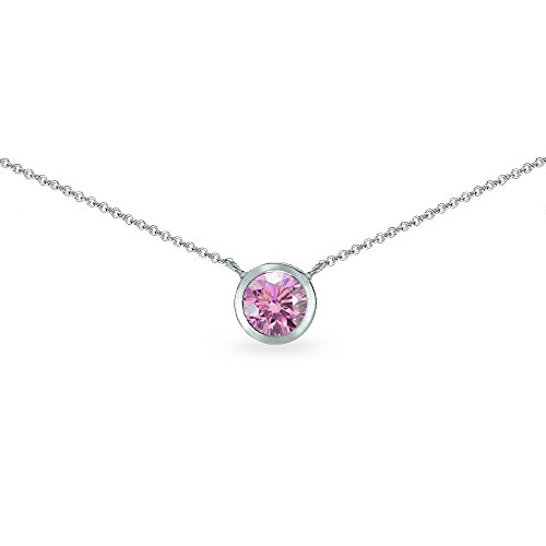 Set Choker Gemstone (Sterling Silver Light Rose 6mm Round Bezel-Set Dainty Choker Necklace Made with Swarovski Crystals)