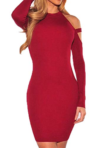 Womens Out Cromoncent Halter One Sleeve Cut Bodycon Step Shoulder Pure Red Clubwear Dress Color Wine Long SwqUHqxg