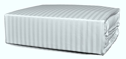 Brielle 630 Thread Count Egyptian Cotton Sateen Premium 600 Plus Duvet Cover, Full/Queen, White - Cotton Stripe Sateen