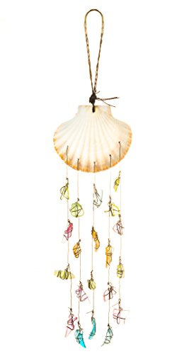 - Nautical Crush Trading Standing Scallop Top w/Assorted Sea Glass Drop Wind Chime | Hanging Shell Wind Chime | Beach Wind Chime for Decoration
