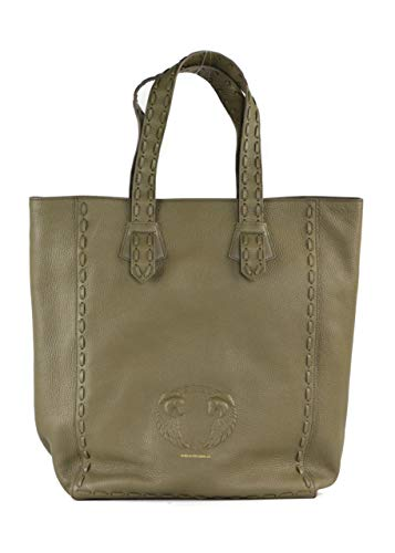 Rtl Bag - Roberto Cavalli Olive Green Grained Leather Stitched Trim Tote Bag~RTL$2150