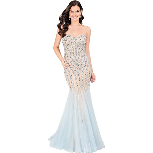 Terani Couture Prom Beaded Evening Dress Blue 2