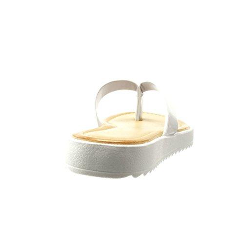 2 Bianco Tacco Donna Sandali Cm Piatto Cinturino Infradito Lucide Angkorly Moda Scarpe wnZPq0w7B