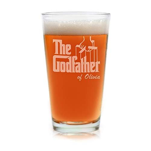 Movies On Glass - Premium Etched Personalized The Godfather Movie Engraved Logo Pint Beer Glass - Godparent -