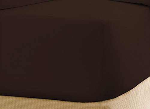 Wamsutta Daily Delight Linen Cool Touch 100% Egyptian Cotton Queen Fitted Sheet in Chocolate - 18 Inch Drop Length