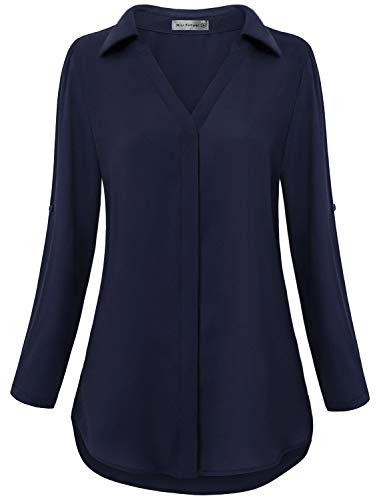 3/4 Fashion Tab Ladies - Miss Fortune Work Blouses for Women Office, Ladies 3/4 Sleeve V Neck Tunic Tops Chiffon Casual Vintage Formal Button Up Shirt Cute Fall Clothing Date Wear, Navy Blue M