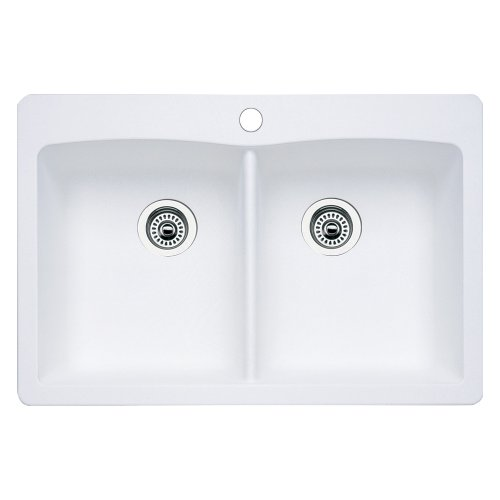 - Blanco 511-601 Diamond Equal Double Bowl Kitchen Sink, White Finish