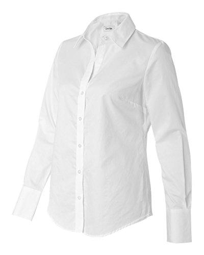 Calvin Klein Ladies' Long Sleeve Micro Herringbone Dress Shirt (White) (Herringbone Long Sleeve Dress Shirt)