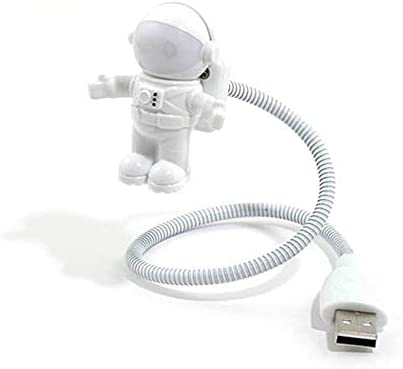 Linda astronauta USB LED Nightlight Children Spaceman Novedad Night Light Book Reading Bulb L/ámpara de noche LED 3D inteligente Blanco