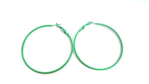 Color Hoop Earrings Simple Thin Hoop Earrings 2 Inch Hoop Earrings (Green)