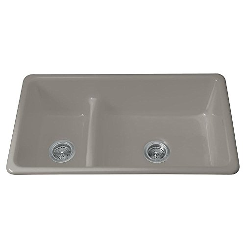 KOHLER K-6625-K4 Iron/Tones Smart Divide Self-Rimming or Undercounter Kitchen Sink, - Cashmere Bowl Self Rimming