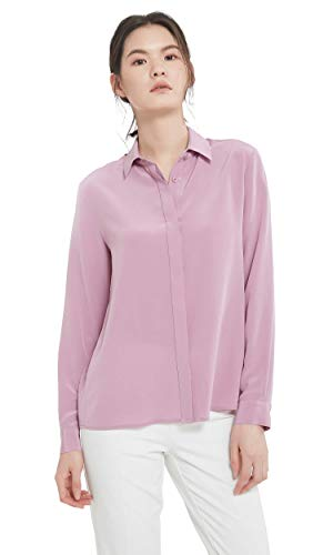 LilySilk Silk Dress Shirts for Women Sandwashed Mulberry Silk Long Sleeve-Pale Lilac-S