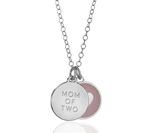 925 Sterling Silver Heart Mom of 2 Charm Pendant Pink Enamel Necklace, 18+2