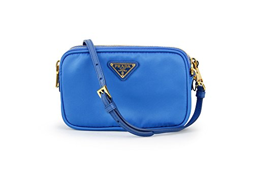 Prada 1N1861 Tessuto Nylon and Leather Crossbody Bag Azzurro Bright Blue