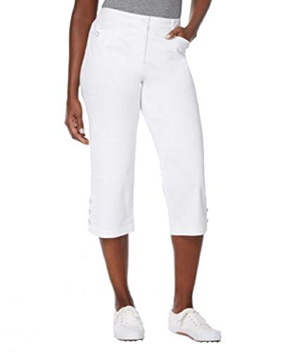 - Karen Scott Button-Cuff Capri Pants (Bright White, 16)