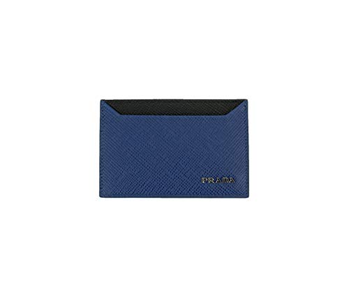 Prada Saffiano Cuir Logo Plaque Color Block Card Case, Blue/black 2MC208