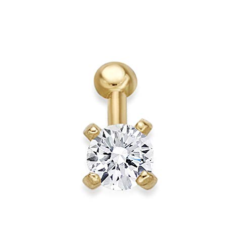 14k Yellow Nose Ring - Lavari - 14K Yellow Gold 2mm White Cubic Zirconium Nose Ring Straight Stud 22G