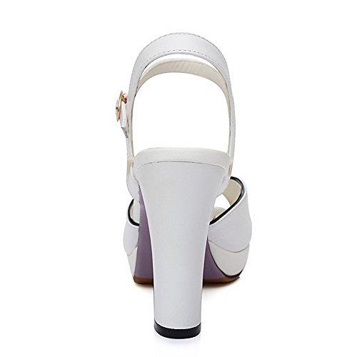 Allhqfashion Womens Ronde Peep Toe Hoge Hakken Stevige Koe Lederen Sandalen Met Platform Wit