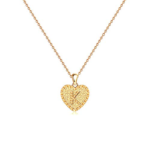 IEFSHINY K Initial Necklace Jewelry - 14K Gold Filled Tiny Initial Necklaces Dainty Heart Charm Alphabet Monogram Necklaces Birthday Jewelry Remembrance Memorial Ideas for Women Teen Girls