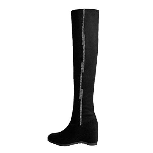 Women's Diamonds HooH Black A237 Thigh Boots Bling HqqwndSx8