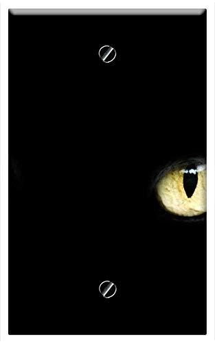 Single-Gang Blank Wall Plate Cover - Eyes Cat Halloween Black Luck Bad Dark Animal -