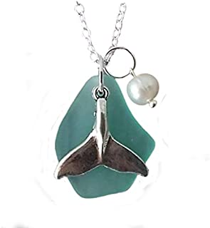 """product image for Handmade in Hawaii, Aqua sea glass necklace,""""March Birthstone"""", freshwater pearl, whale tail, (Hawaii Gift Wrapped, Customizable Gift Message)"""
