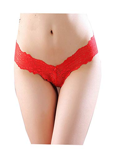Justgoo Women's Sexy Sheer Panties Thongs Lace V-Strings Low Rise Brief Underwear