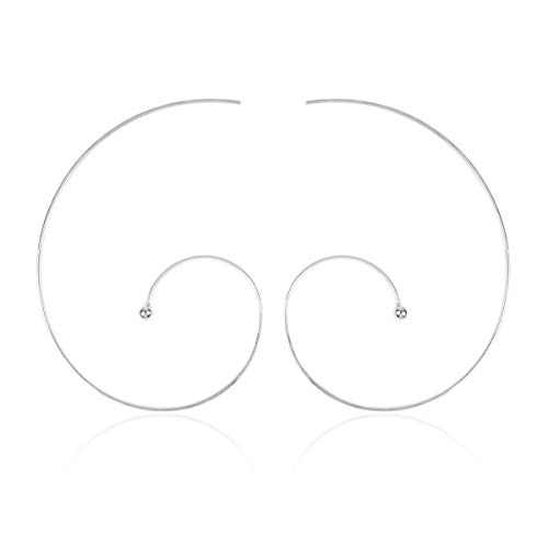 RIAH FASHION Simple Geometric Polygon Lightweight Hoop Earrings - Classic Thin Wire Delicate Threader Dangles Octagon/Pentagon/Hammered Curved Crescent Arc (Swirl Silver)