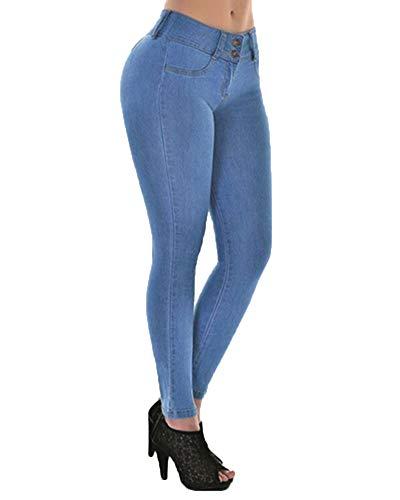 In A Chiaro Skinny Alta Denim Vita Pantaloni Donna Elastico Jeans Leggings Azzurro Zhuikuna Matita 1wTvqF1