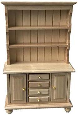 CuteExpress Miniature Cupboard Dollhouse Bookshelf Wood Cabinet 1:12 Furniture Display Showcase Decoration Sideboard (Burlywood)