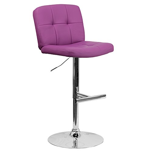 Flash Furniture Contemporary Tufted Purple Vinyl Adjustable Height Barstool with Chrome Base Review
