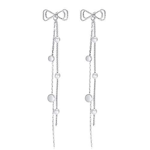 (Long Tassel Bow Drop Earrings - Hypoallergenic Bohemian Silver Plated Crystal Dangle Earrings for Women Girls Fashion Charm Jewelry Gift)