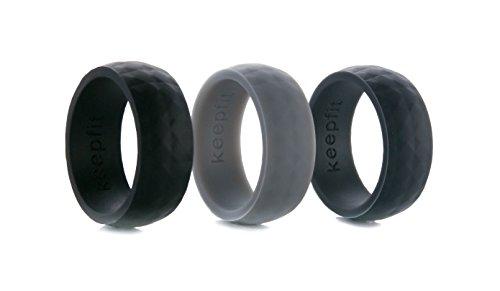 Diamond Ring Thick Design (Silicone Wedding Ring Modern Geometric Diamond Design Wedding Band Strong, Durable, Flexible and Award Winning (3 PACK, 8))