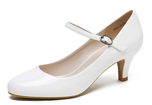CAMSSOO Womens Closed Toe Low Mid Heel Ankle Strap Dress Pump Shoes White Patent PU Size US6.5 EU37