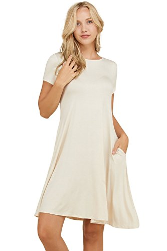 (Annabelle Women's Loose Flowy Fall Mid Length Casual Plus Size Dress Cream X-Large D5213P)