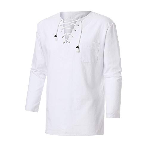- Sunhusing Fashion Men's Retro Casual Cross Straps Lace-Up V-Neck Cotton Linen Long-Sleeve Shirt Top Blouse White