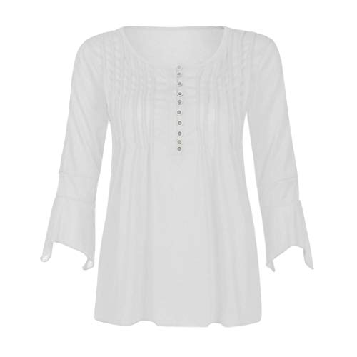 3 Chemise V Blouse Shirt Tops 4 Aimee7 Fit À Blanc Slim Automne Col T Solide Femme Manches 8fwpUXn