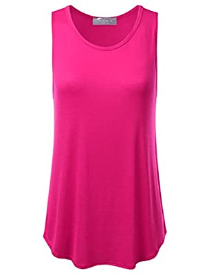 FLORIA Womens Basic Flowy Loose Fit Ultra Lightweight Soft Knit Sheer Tank Top